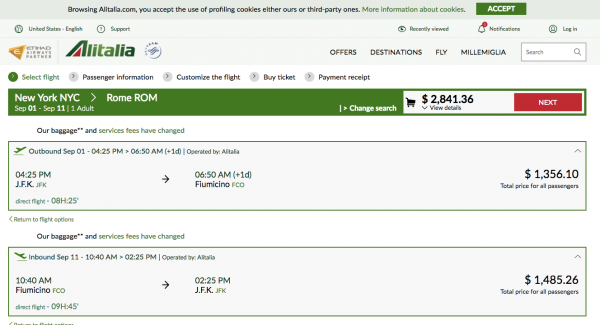 Alitalia JFK - FCO $2800