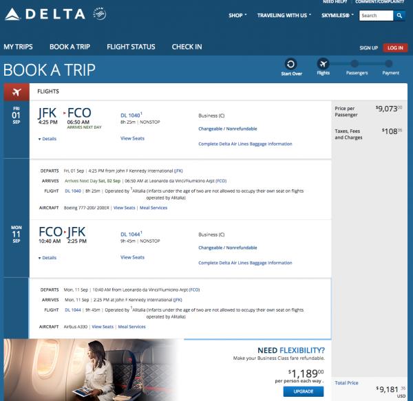 Delta JFK - FCO $9200