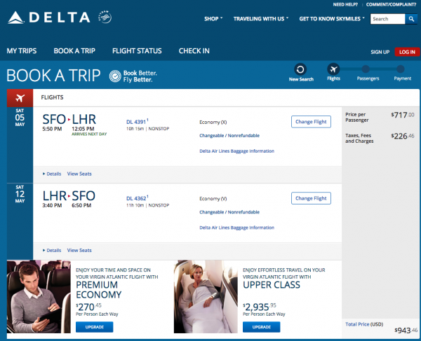 Delta Travel Insurance - $943 SFO - LHR | AARDY.com