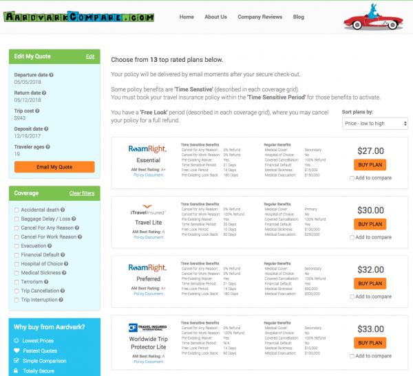 Delta Travel Insurance - Aardvark International Options | AardvarkCompare.com