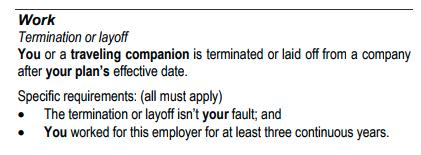 Delta Travel Insurance - Work Cancellation Detail | AardvarkCompare.com