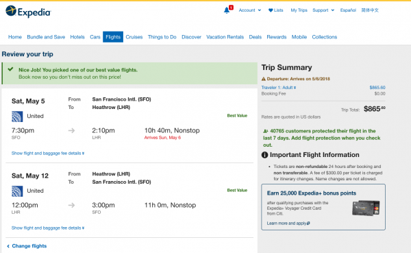 Expedia Travel Insurance - SFO - LHR $865 | AARDY.com