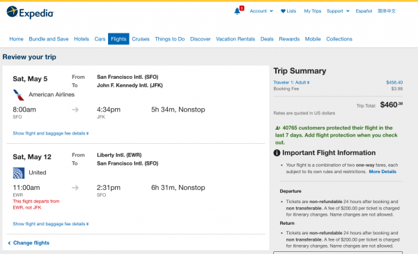 Expedia Travel Insurance - SFO - NYC - $460 | AARDY.com