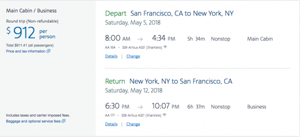 American Airlines Travel Insurance - $912 SFO-NYC Return | AARDY.com