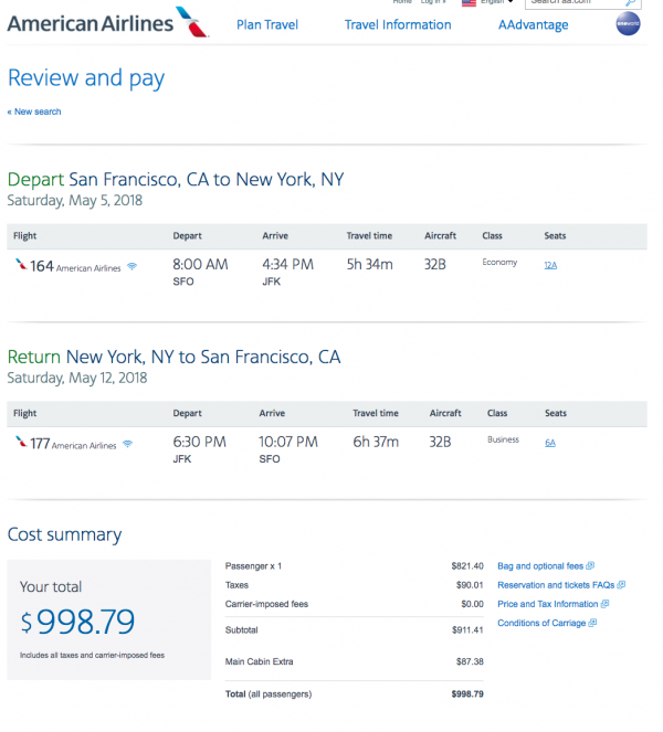 American Airlines Travel Insurance - $999 SFO-NYC Return | AARDY.com