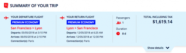 Air France Travel Insurance SFO - Lyon $1619