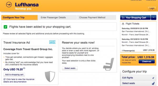 Lufthansa SFO - MUC $1320 and $76 Insurance