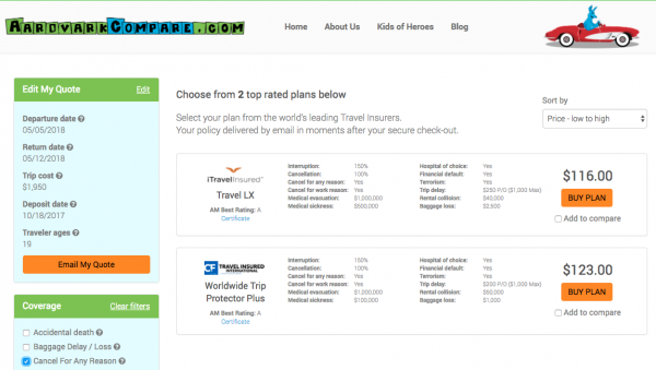 ANA Travel Insurance - Cancel for Any Reason | AardvarkCompare.com
