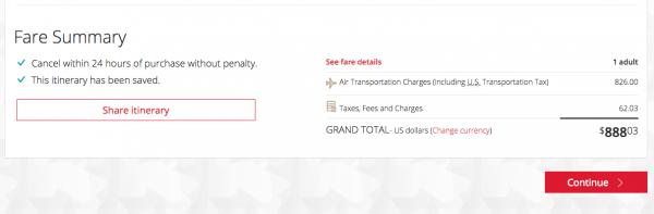 Air Canada $888