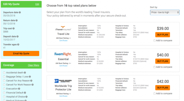 Air Canada Travel Insurance AARDY Options