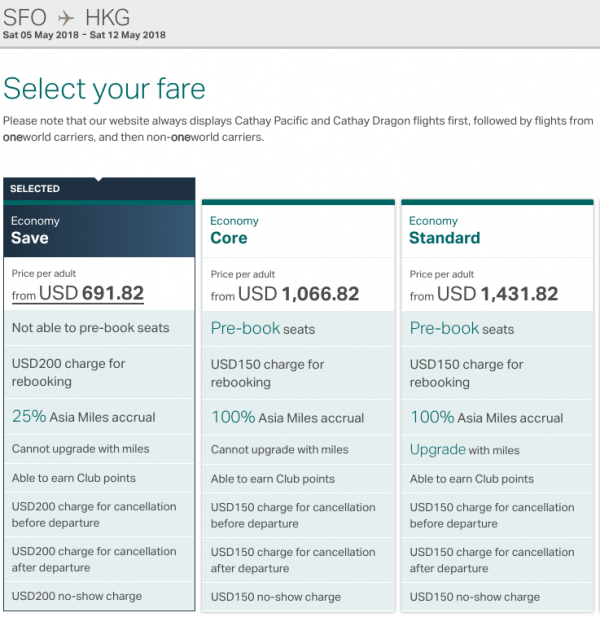 Cathay Pacific Travel Insurance - Fare Rules | AARDY.com