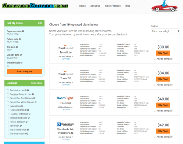 AardvarkCompare Flight Insurance Options. A comprehensive set of cheapest flight insurance options. All with much better cover than Delta Flight Insurance. All with lower pricing.