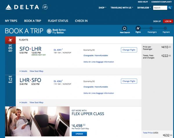 Screenshot of Delta SFO - LON $632 Delta Flight Insurance. Not the cheapest flight insurance available, certainly.