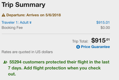 Expedia Flight Insurance Nudge | AARDY.com