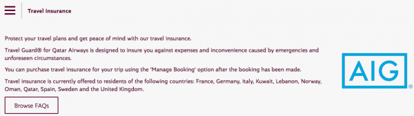 Qatar Airways Travel Insurance Not available in USA | AardvarkCompare.com
