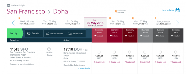 Qatar Airways Travel Insurance Price Grid | AardvarkCompare.com