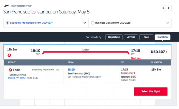 Turkish AIrlines Travel Insurance - Flight Selected | AARDY.com