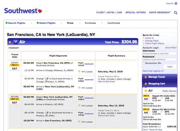 Southwest Airlines Travel Insurance - $304 SFO - NYC Return | AardvarkCompare.com