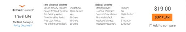 Southwest Airlines Travel Insurance - iTI Lite $19 | AardvarkCompare.com