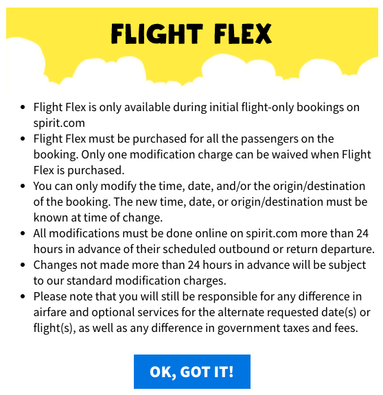 Spirit Travel Insurance - Flight Flex Details | AARDY.com