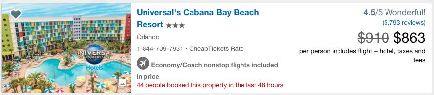 CheapTicketes-Travel-Insurance-Universal-Cabana | AARDY.com