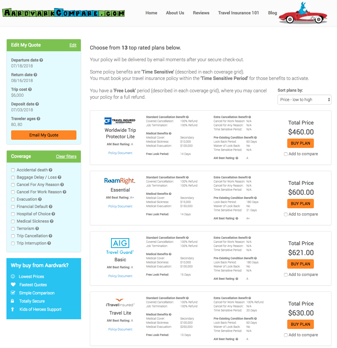 Cost-of-Travel-Insurance-Ages-of-Travelers-80 | AardvarkCompare.com