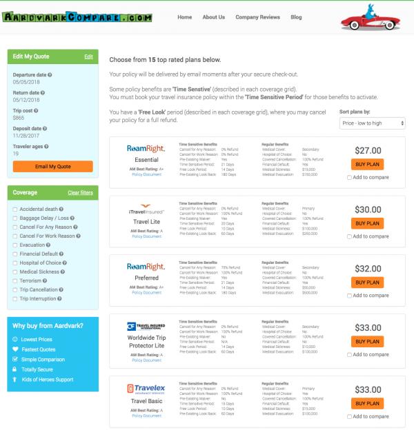 Expedia Travel Insurance - SFO - LHR - AardvarkCompare Options | AardvarkCompare.com