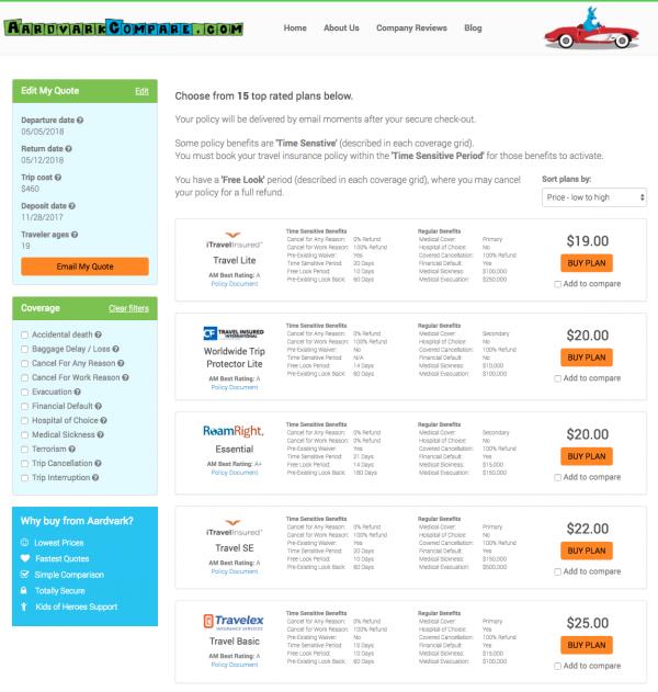 Expedia Travel Insurance - SFO - NYC - AardvarkCompare Options | AardvarkCompare.com