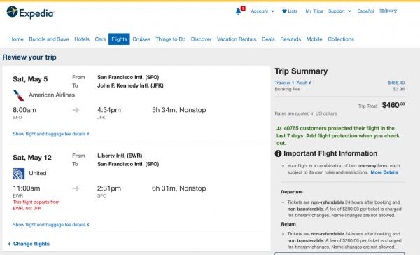Expedia Travel Insurance - SFO - NYC - $460 | AardvarkCompare.com