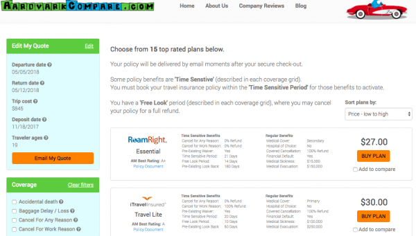 United Airlines Travel Insurance - AardvarkCompare Options | AardvarkCompare.com