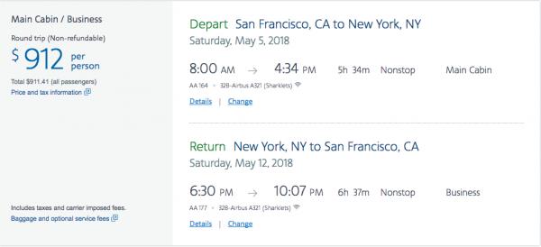 American Airlines Travel Insurance - $912 SFO-NYC Return | AardvarkCompare.com