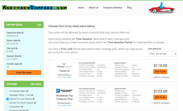 Alaska Airlines Travel Insurance - Cancel for Any Reason | AardvarkCompare.com
