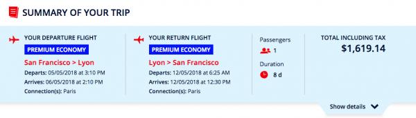Air France Travel Insurance SFO - Lyon $1619