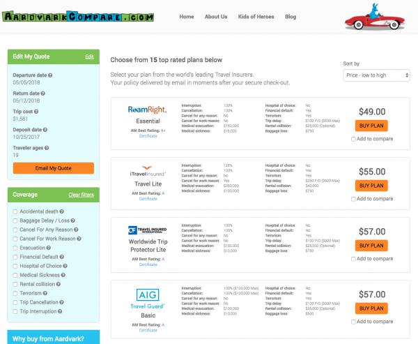 Swiss Airlines Travel Insurance - Aardvark Options   AardvarkCompare.com