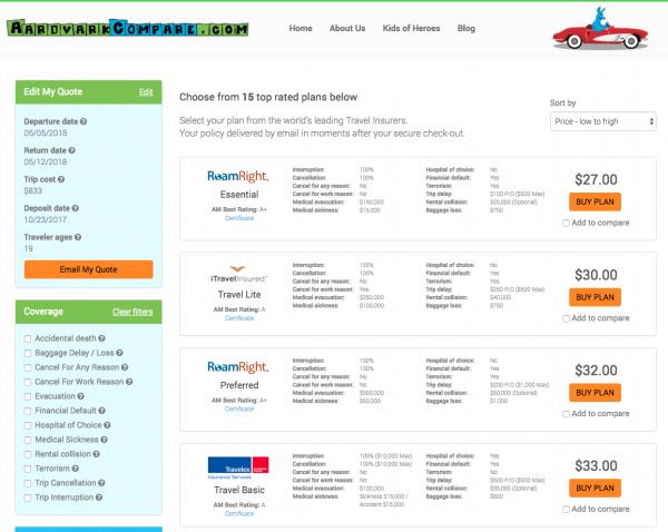Turkish Airlines Travel Insurance - Aardvark Options   AardvarkCompare.com
