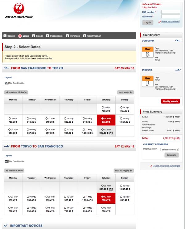 JAL Travel Insurance - Flight Grid | AardvarkCompare.com