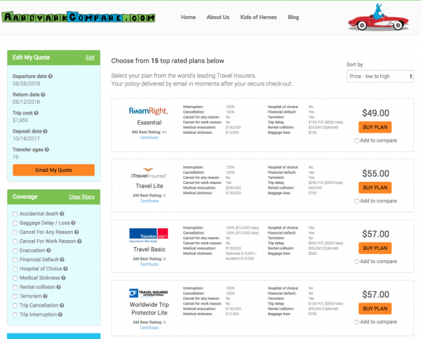 ANA Travel Insurance - Aardvark Options | AardvarkCompare.com