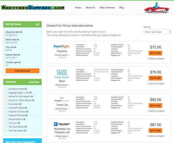 Qatar Airways Travel Insurance Aardvark Options | AardvarkCompare.com