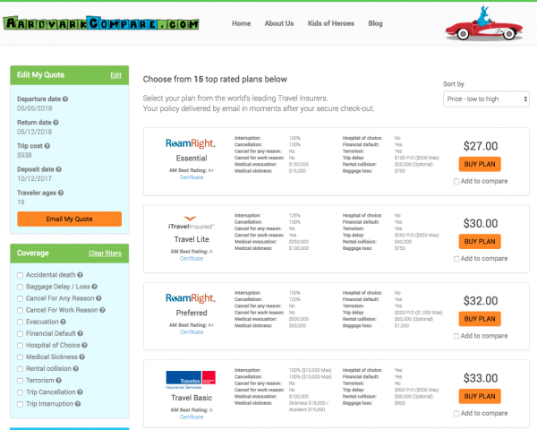 China Airlines Travel Insurance Aardvark Options | AardvarkCompare.com