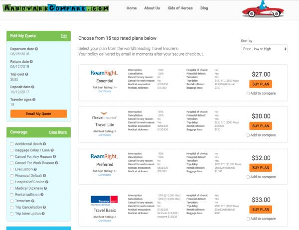 Air China Travel Insurance Aardvark Options | AardvarkCompare.com