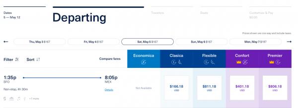 AeroMexico Travel Insurance Seat Options | AardvarkCompare.com
