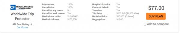 Air India Travel Insurance TII WTP $77 | AardvarkCompare.com