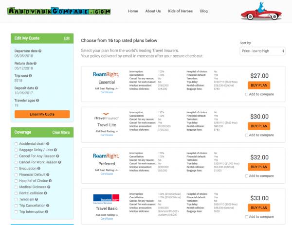 Expedia Flight Insurance Aardvark Options   AardvarkCompare.com