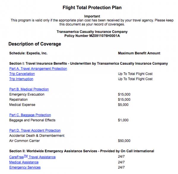 Expedia Flight Insurance Coverage   AardvarkCompare.com