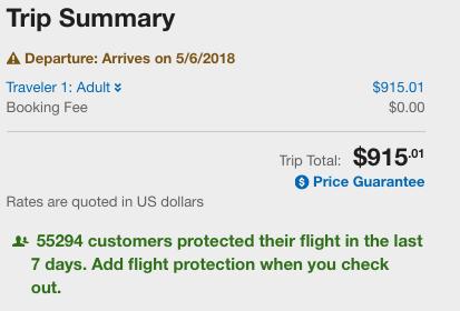Expedia Flight Insurance Nudge | AardvarkCompare.com