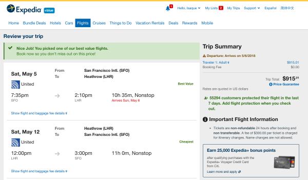 Expedia Flight Insurance SFO - LHR $915   AardvarkCompare.com