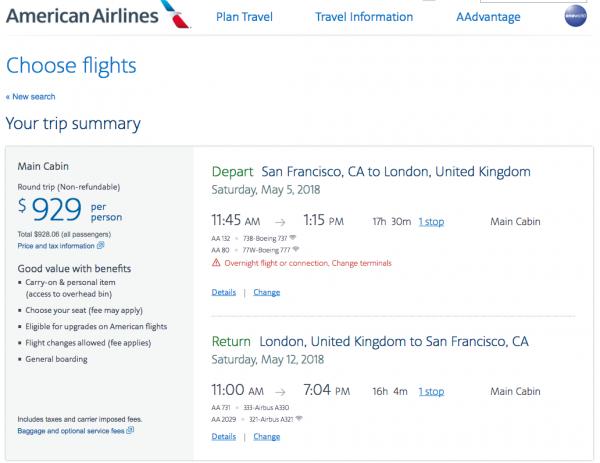 American Flight Insurance $929 SFO - LHR   AardvarkCompare.com