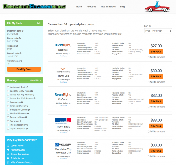 American Flight Insurance Aardvark Options | AardvarkCompare.com