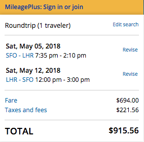 United Flight Insurance SFO-LHR $915