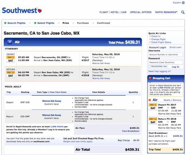 Southwest Airlines Travel Insurance - Sacramento - Cabo Return $439 | AardvarkCompare.com